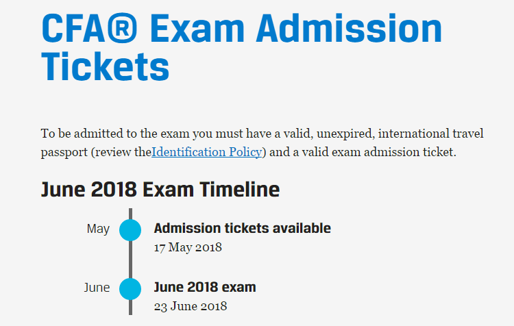 2018年6月CFA准考证打印时间