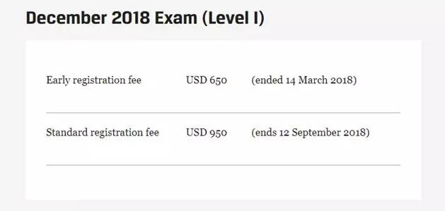 2018年12月CFA考试报名时间及费用