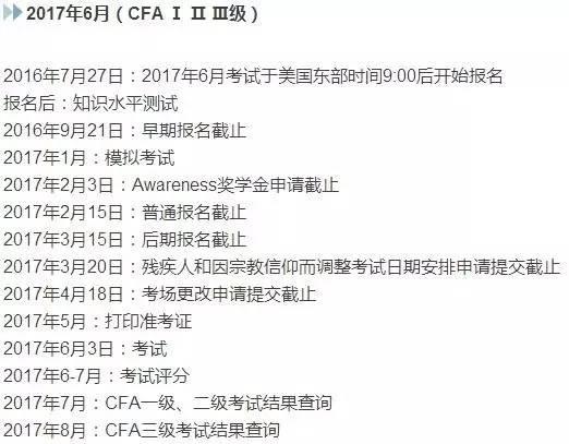 12月CFA成绩查询及2017年6月CFA考试时间安排表